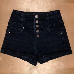 High waisted dark wash jean shorts 🌻